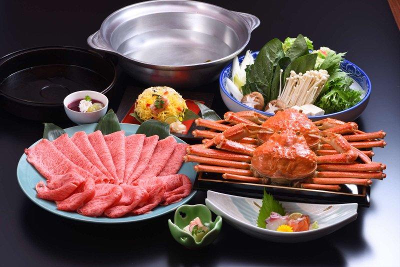 近江牛しゃぶしゃぶ(すき焼き)と蟹コース